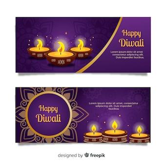 Flat design diwali web banners template