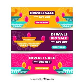 Flat design of diwali web banners