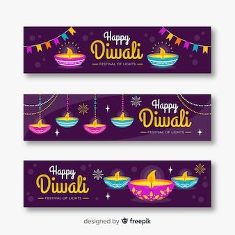 Flat design diwali web banners
