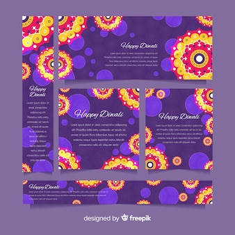 Flat design of diwali web banners