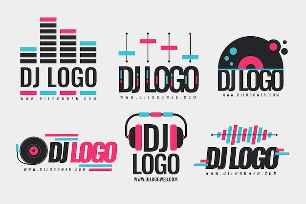Collezione di logo dj design piatto