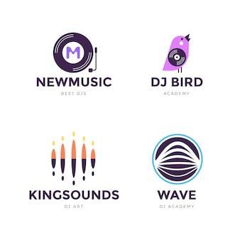 Flat design dj logo collection