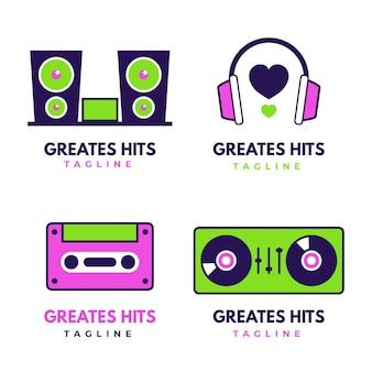 Set di logo dj design piatto