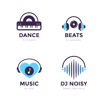 Set di logo dj design piatto