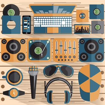 Flat design  of dj and music theme