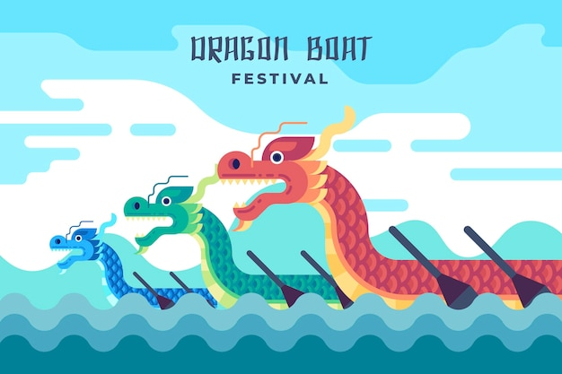 Flat design dragon boat background