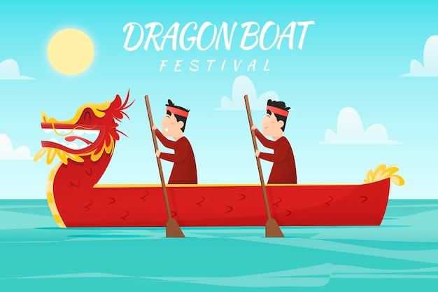 Flat design dragon boat background