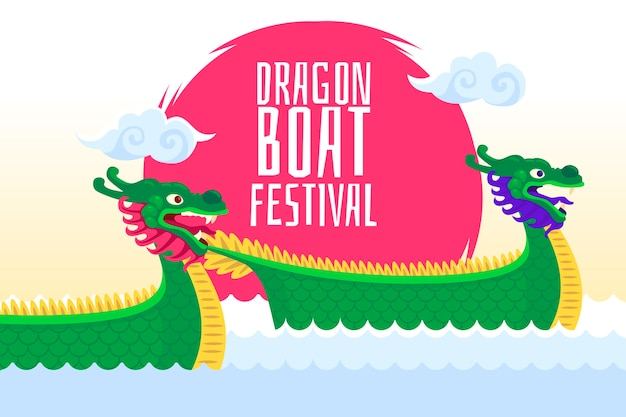 Плоский дизайн фона лодка дракона