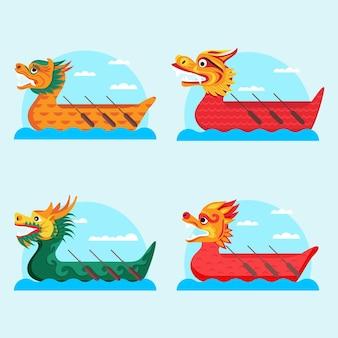 Коллекция лодок-драконов с плоским дизайном