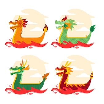 Flat design dragon boat collection