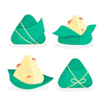 Flat design dragon boat's zongzi set