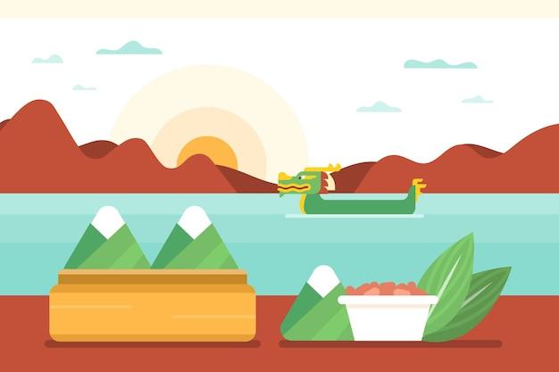Плоский дизайн лодка дракона zongzi фон