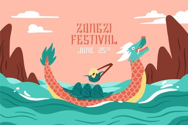 Flat design dragon boat zongzi background
