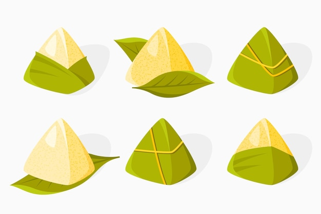 Flat design dragon boat zongzi collection