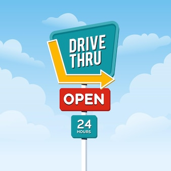 Flat design drive thru sign