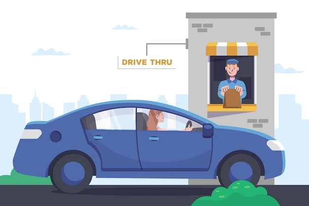 Flat design drive thru window with car and worker