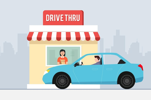 Flat design drive thru window