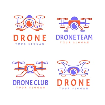 Flat design drone logo collection