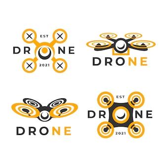 평면 디자인 드론 로고 컬렉션