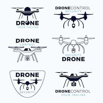 Flat design drone logo pack