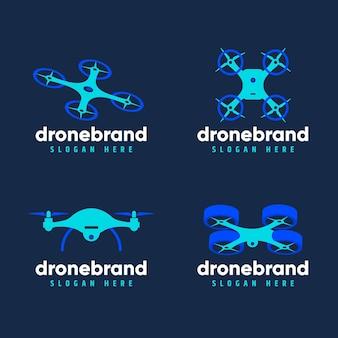 Flat design drone logo set