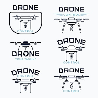 Flat design drone logo set