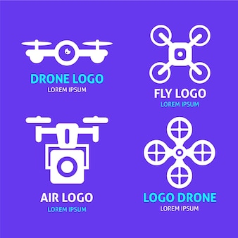 Flat design drone logos collection
