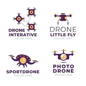 Flat design drone logos pack