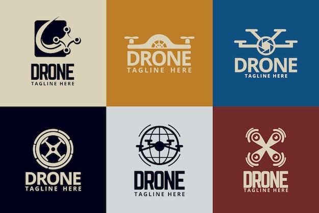 Flat design drone logos set