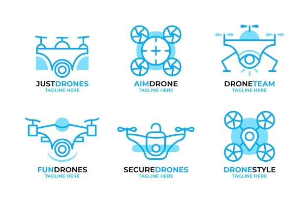 Flat design drone logos