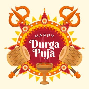Flat design durga-puja background