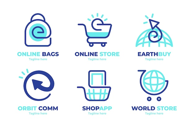 Flat design e-commerce logos pack