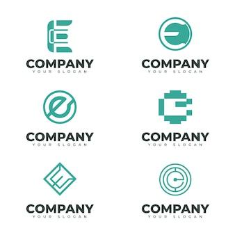 Плоский дизайн электронной коллекции логотипов