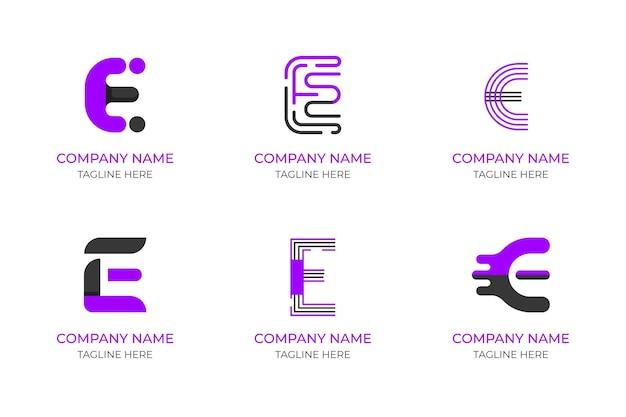 Плоский дизайн e логотип набор