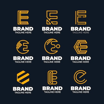Flat design e logo template collection