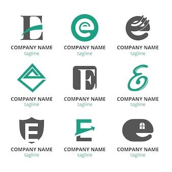 Плоский дизайн e логотип шаблонов набор