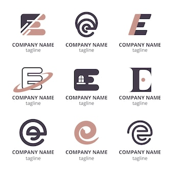 Flat design e logo template set