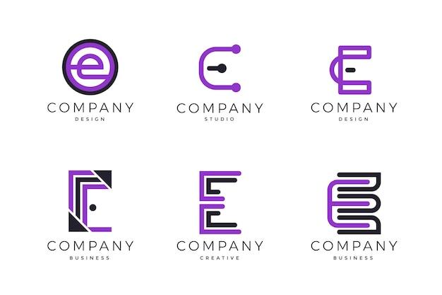 Flat design e logo templates pack