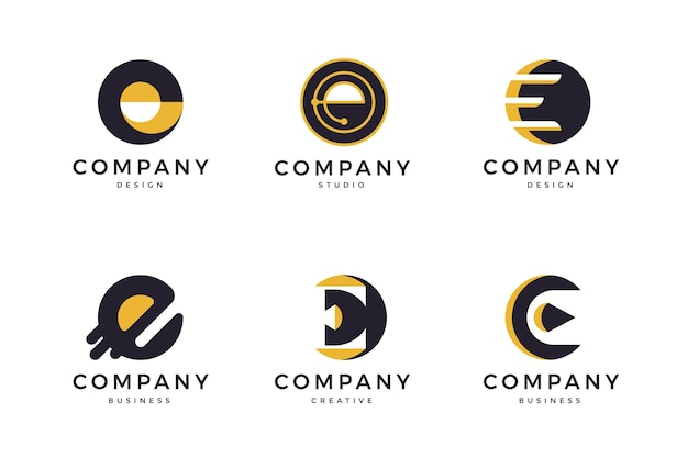 Flat design e logo templates pack