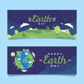 Flat design earth day banner