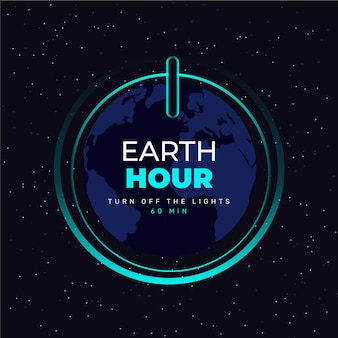 Flat design earth hour on button