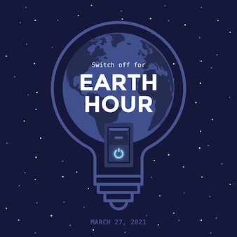 Flat design earth hour light bulb