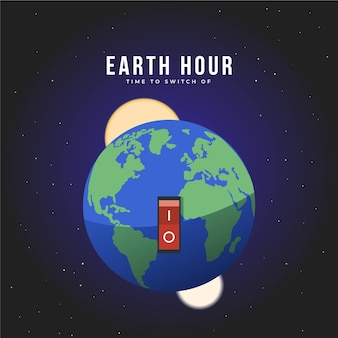 Flat design earth hour on and off button