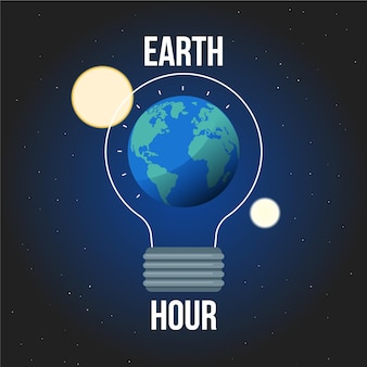 Flat design earth hour planet and moon