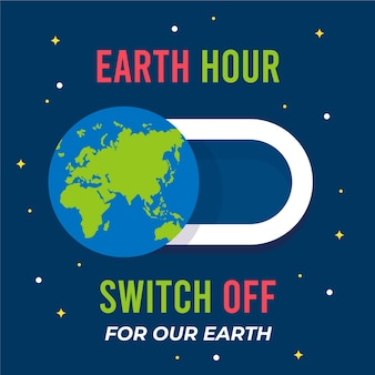 Flat design earth hour switch off button