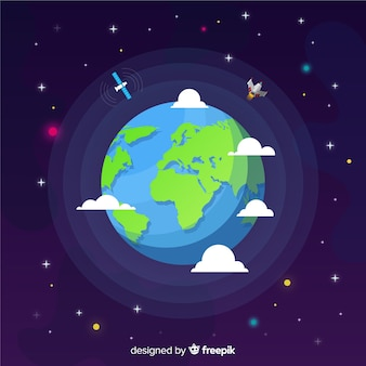 Flat design of earth in space