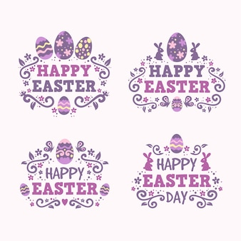 Flat design easter badge lettering collection