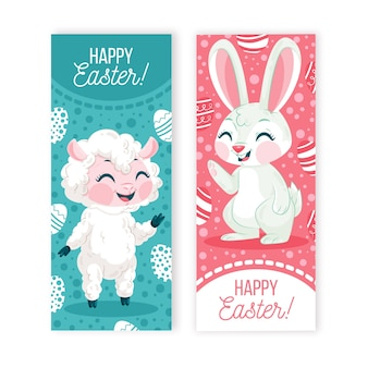 Flat design easter banner collection