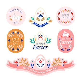 Flat design easter day badge collection template