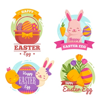 Flat design easter day badge collection